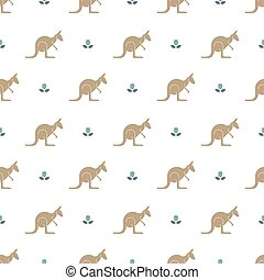 Kangaroo pattern - Seamless pattern with flower and...