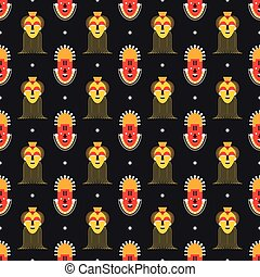 African masks pattern - Seamless pattern with African masks...
