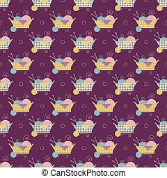basket and thread pattern - Seamless pattern with basket and...