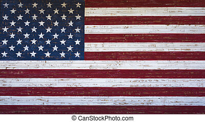 American or United States flag painted on a wooden plank wall