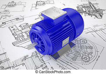 Industrial electric motor on the drawing - Industrial blue...