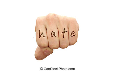 Man fist with HATE word isolated on white background