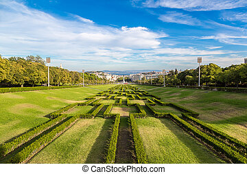 Eduardo VII park in Lisbon, Portugal in a beautiful summer...