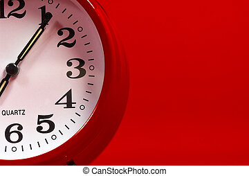 Red Alarm clock on red background - Red alaram clock on a...