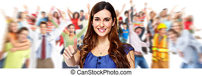 Students group. - Young beautiful student woman portrait....