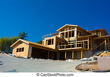 New house construction - Wooden framing for construction of...