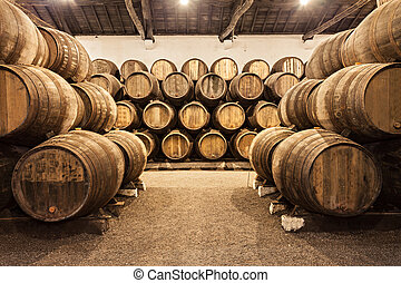 Wine cellar, Porto - Barrels in the wine cellar, Porto,...