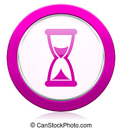 time violet icon hourglass sign