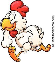 Cartoon chicken - Running cartoon chicken. Vector clip art...