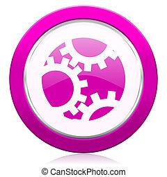 簽署, 紫色, 齒輪, 設置, 圖象