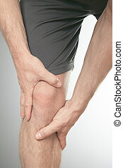 Man with both palm around knee cap to show pain and injury...