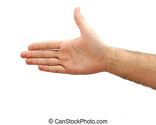 Man hand showing a thumb up isolated on white background