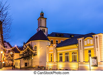Marktplatz square with St Johns Church in Feldkirch -...