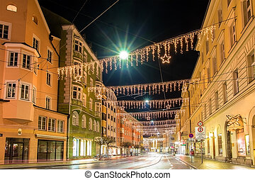 A street in the center of Innsbruck on Christmas