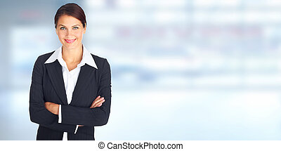 Business woman - Young Business woman over office background