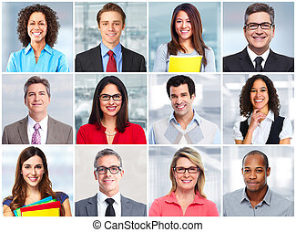 Business people face. - Group of business people face team...