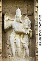 Lord Shiva and Devi Parvati statue. - KUMBAKONAM, INDIA -...