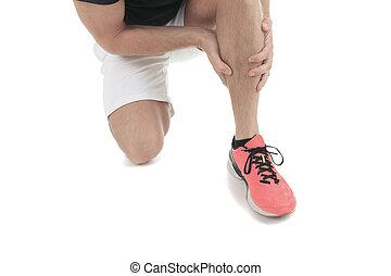Executando, físico, ferimento, perna, músculo,...