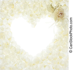 love - blank heart shape by fake white rose and its petals
