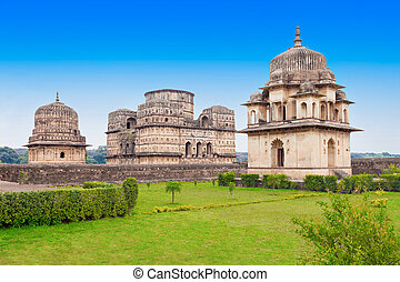 Chhatris Cenotaphs, Orchha - Chhatris or Cenotaphs are dome...