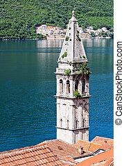 Perast - Saint Nikola Church in Perast, Kotor harbor,...