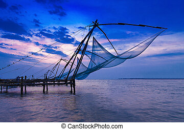 Chinese fishing net - Traditional chinese fishing net at...