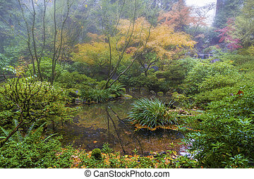 Foggy Morning at Japanese Garden - Foggy Morning by the Pond...