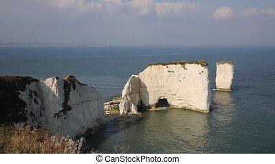 Jurassic Coast UK chalk stacks - Jurassic Coast Dorset...