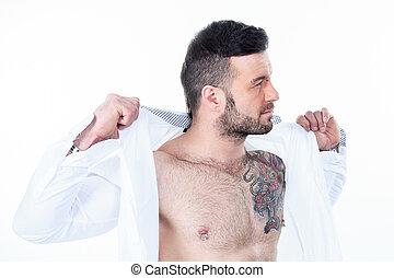 A sexy men with a detach shirt