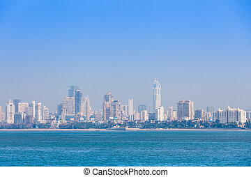 Mumbai skyline view from Marine Drive in Mumbai, India