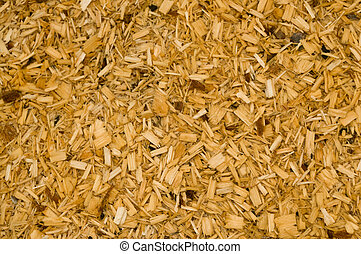 wood chips - macro closeup of small pine wood chips