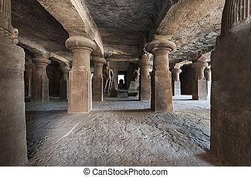 Elephanta Island caves near Mumbai in Maharashtra state,...