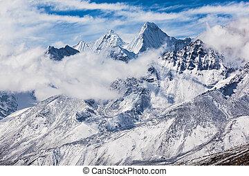 Mountains, Everest region - Mountains in Everest region,...