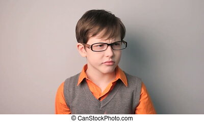 teenager boy distrust suspicion persecution phobia glasses...