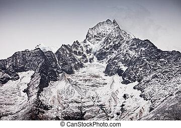Thamserku mountain, Nepal - Thamserku mountain in Everest...