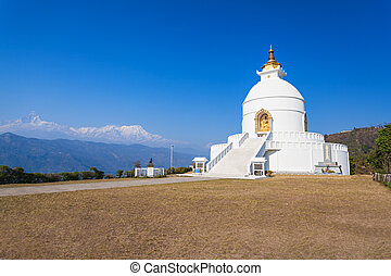 World Peace Pagoda in Pokhara, central Nepal