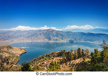 Phewa lake and Annapurna - Aerial view to Phewa lake and...