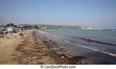 UK south coast Swanage Dorset - Swanage beach Dorset England...