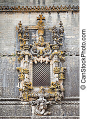 Manuelino window, Tomar - The famous chapterhouse window in...