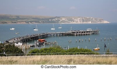 Swanage harbour and jetty Dorset uk - Swanage harbour and...