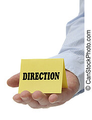 Direction - Sign Series - Business man holding yellow...