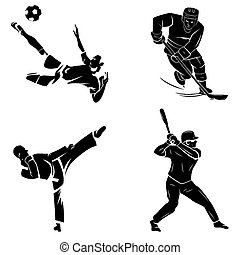 Foot ball,Karate,Softball and Hockey
