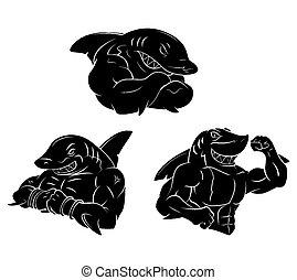 tatouage, requin, fort, noir