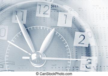 relógio, e, Calendário,