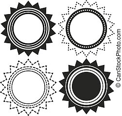 Set of 4 isolated badges in shapes