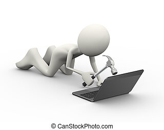 3d angry pc user hitting laptop with hammer - 3d...