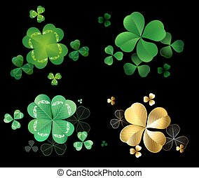 Set of clover - Set of green and gold leaves clover with...