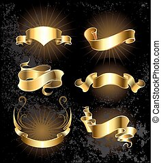 Set of gold ribbons - Set of gold, shiny, ribbons on a black...