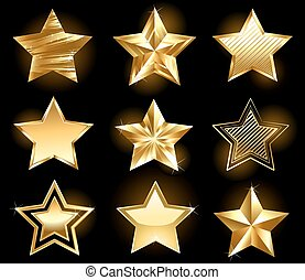 set of gold stars - Set of gold, fine stars on a black...