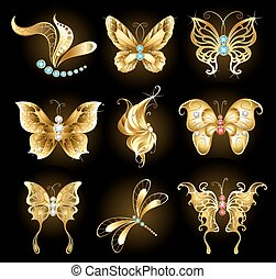 Set of golden butterflies - set of golden dragonflies and...